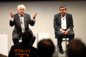 SAP chairman Hasso Plattner and development head Vishal Sikka